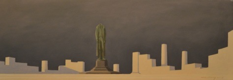 """""""Temple Ruin"""", 8 x 22"""", oil on panel. 2014  available"""