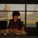 """Freemont Coffee Shop"", 8 1/2 x 11""< oil on panel, 2012 available( R.H. Ballard Gallery)"