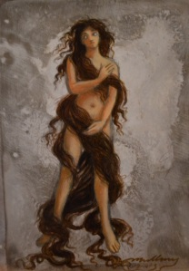 """"""" Long Haired Lady"""", 7 x 5"""", oil on panel, 2014, sold"""