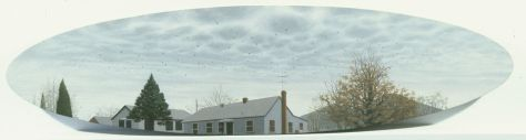 "Turkey Vultures Over McLean, oil on panel, 16"" x 21"" sold"