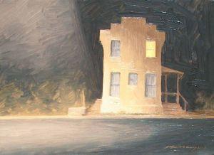 """Fodderstack and Main"", oil on panel, 9 x 12""  2008"