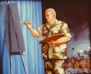 """General Schwartzkopf at the Easel, 8 x 10"""", 1991 sold"""