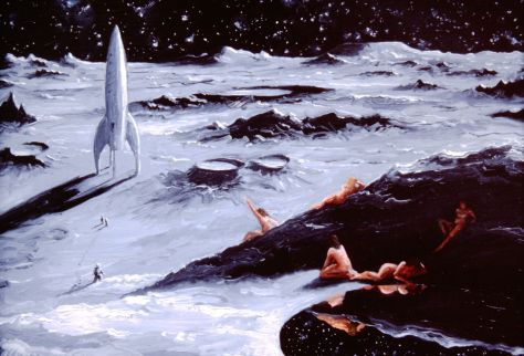 Moon Maidens, 8x 12. oil on panel, 1989, available