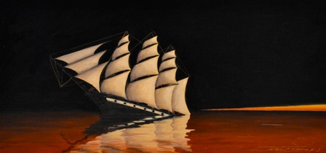 """""""Red Water"""", 12.5"""" x 25 7/8"""", oil on panel, 2013, sold"""