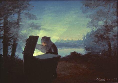 """Twilight in the Adirondacks"", 7 x 10"", 1991 sold"