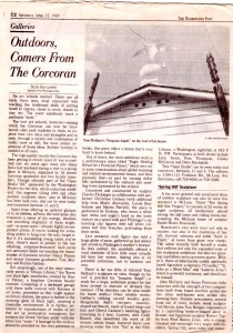 """Washington Post, """"Outdoors, Comers From the Corcoran"""", by Jo Ann Lewis, April, 1989"""