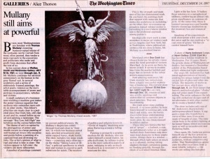 "The Washington Times, ""Galleries, Mullany Still Aims at Powerful"", by Alice Thorson, December 24, 1987"