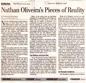 "Washington Post, ""Galleries"", by F. Protzman  April, 1998"