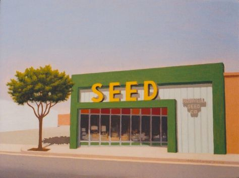 """Roswell Seed Company"", oil on panel, 9 x 12"", 2005"