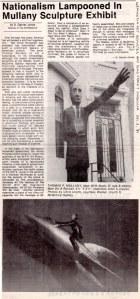 """Washington Art Reporter, """"Nationalism Lampooned in Mullany Sculpture Exhibit"""", by S. Garner Jones, Dec., 1986"""
